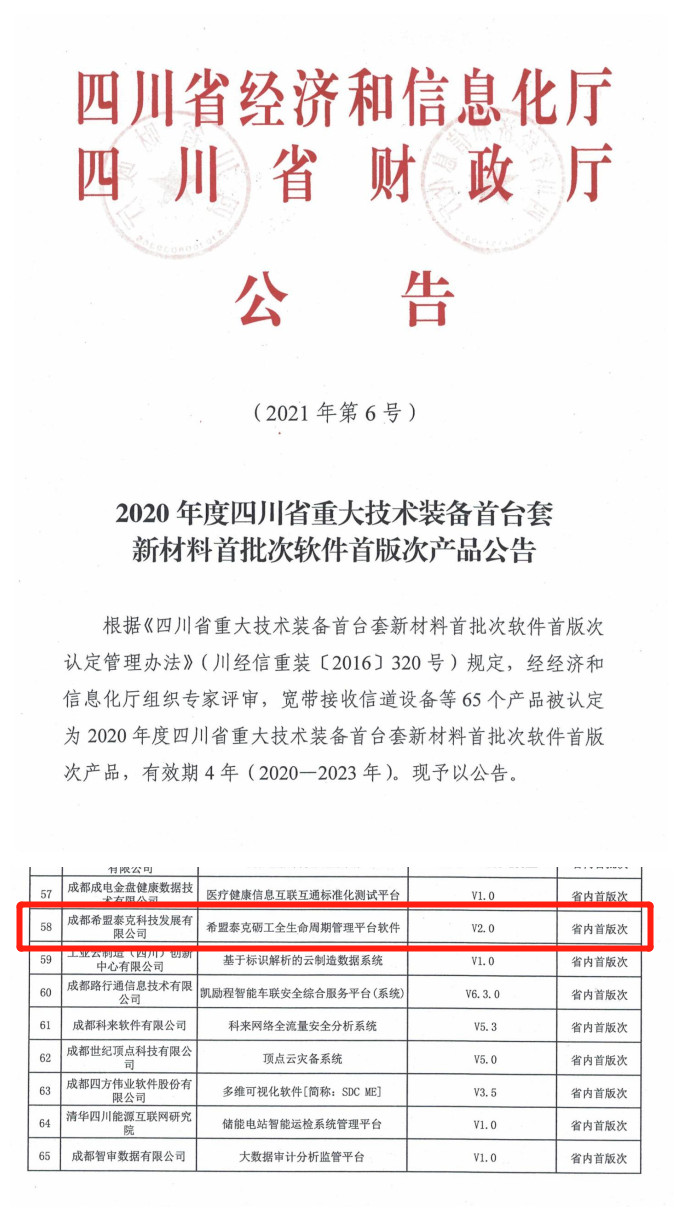 重磅|2020四川省9个首版次软件,希盟科技产品上榜-自主PLM|智慧工地管理平台|BIM施工管理系统